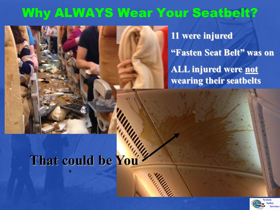 Why ALWAYS Wear Your Seatbelt? That could be You 11 were injured Fasten Seat Belt was on ALL injured were not wearing their seatbelts