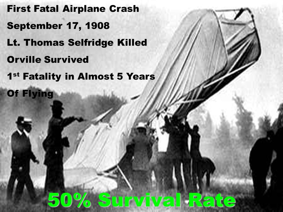 First Fatal Airplane Crash September 17, 1908 Lt. Thomas Selfridge Killed Orville Survived 1 st Fatality in Almost 5 Years Of Flying 50% Survival Rate