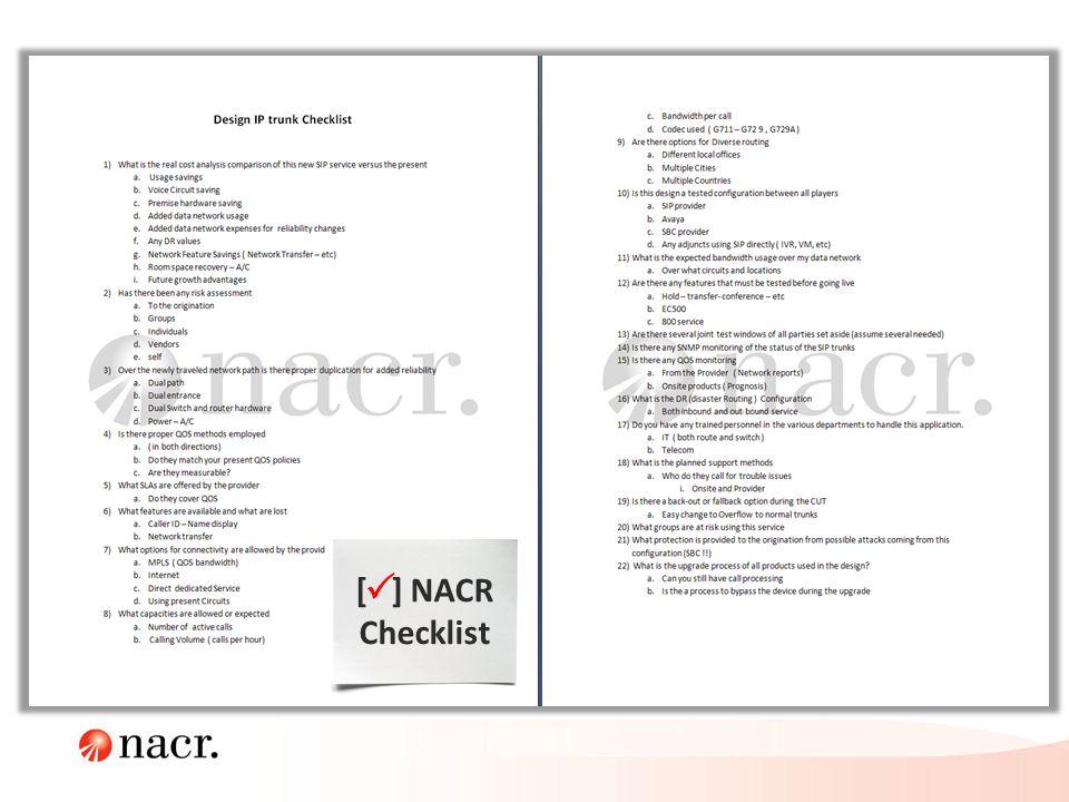 [ ] NACR Checklist