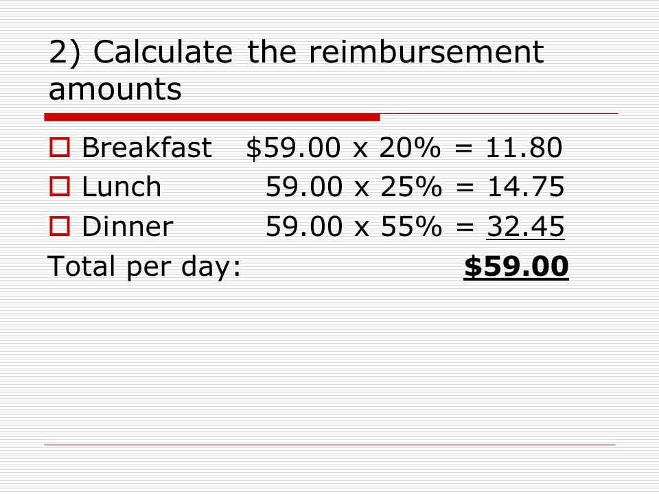 2) Calculate the reimbursement amounts Breakfast$59.00 x 20% = 11.80 Lunch 59.00 x 25% = 14.75 Dinner 59.00 x 55% = 32.45 Total per day: $59.00