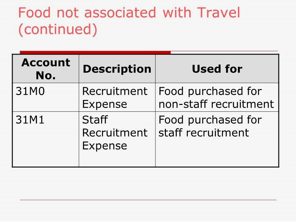 Food not associated with Travel (continued) Account No.