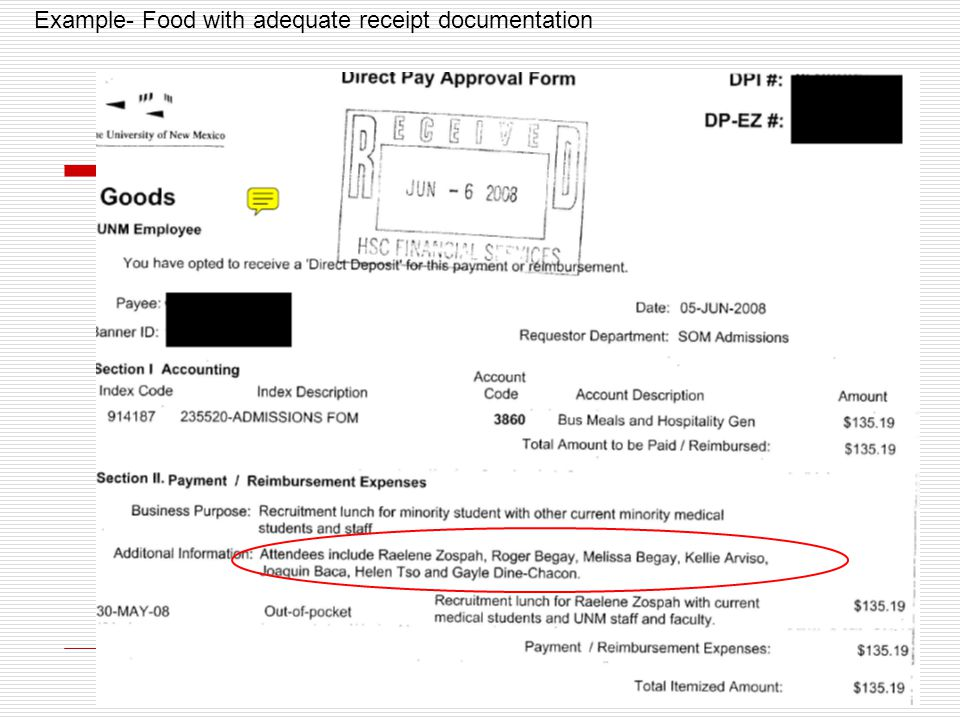 Example- Food with adequate receipt documentation