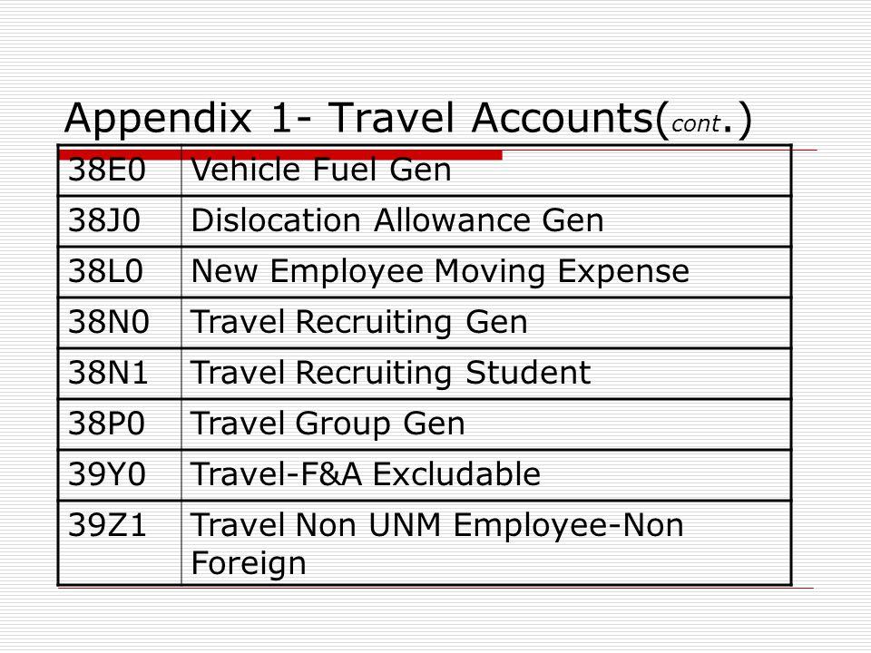 Appendix 1- Travel Accounts( cont.) 38E0Vehicle Fuel Gen 38J0Dislocation Allowance Gen 38L0New Employee Moving Expense 38N0Travel Recruiting Gen 38N1Travel Recruiting Student 38P0Travel Group Gen 39Y0Travel-F&A Excludable 39Z1Travel Non UNM Employee-Non Foreign