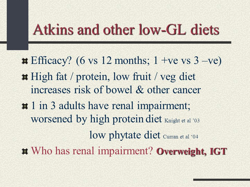Atkins and other low-GL diets Efficacy.