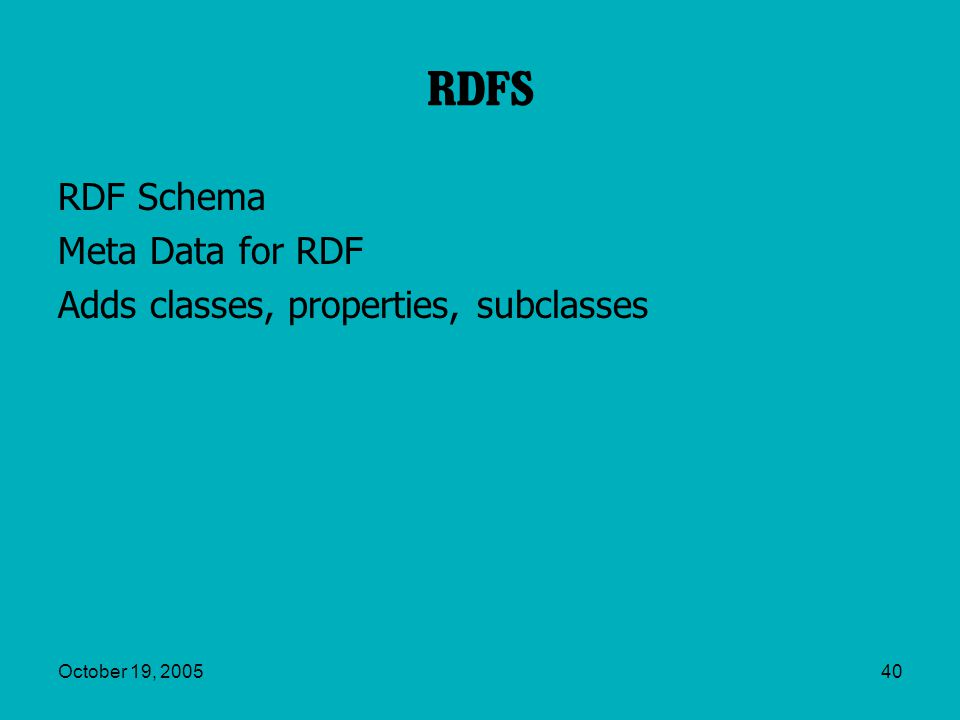 October 19, 200540 RDFS RDF Schema Meta Data for RDF Adds classes, properties, subclasses