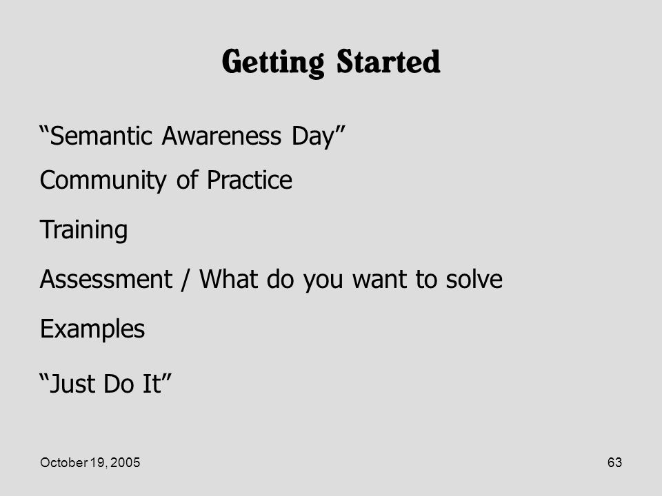 October 19, 200563 Getting Started Semantic Awareness Day Just Do It Examples Assessment / What do you want to solve Training Community of Practice