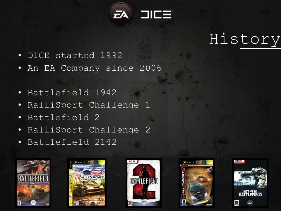 History DICE started 1992 An EA Company since 2006 Battlefield 1942 RalliSport Challenge 1 Battlefield 2 RalliSport Challenge 2 Battlefield 2142