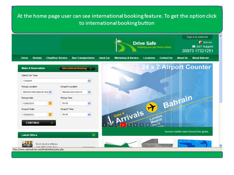 At the home page user can see international booking feature.