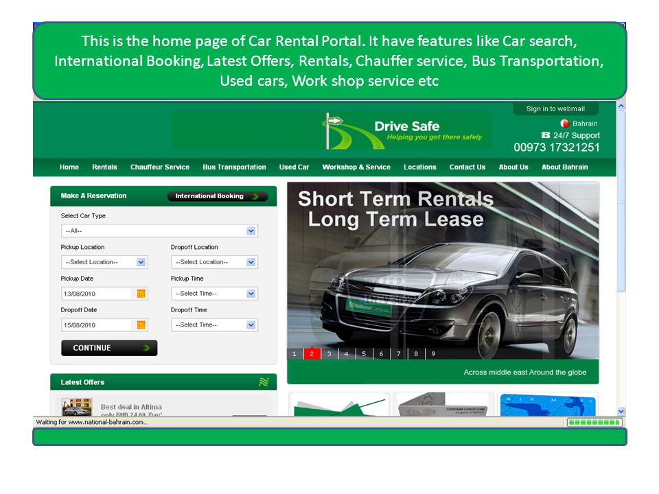 Here user get page for providing asked details to book cars internationally.