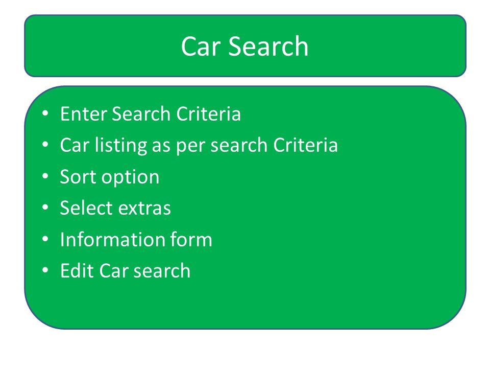 User Can Search desired car using search criteria such as Car type, Pick up /Drop off location, Pickup/Drop off date, Pick up/drop off time, etc.