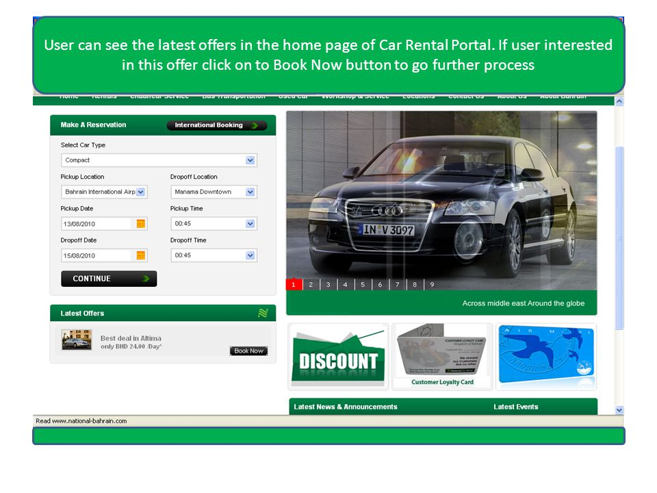 User can see the latest offers in the home page of Car Rental Portal.
