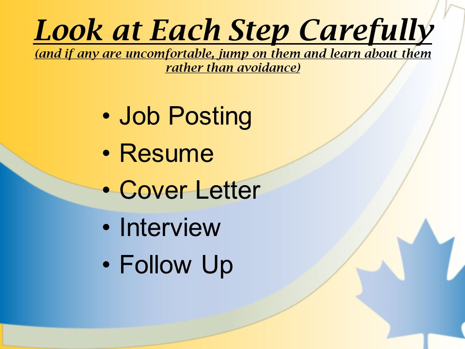 Look at Each Step Carefully (and if any are uncomfortable, jump on them and learn about them rather than avoidance) Job Posting Resume Cover Letter Interview Follow Up