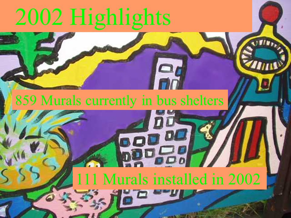 2002 Highlights 859 Murals currently in bus shelters 111 Murals installed in 2002
