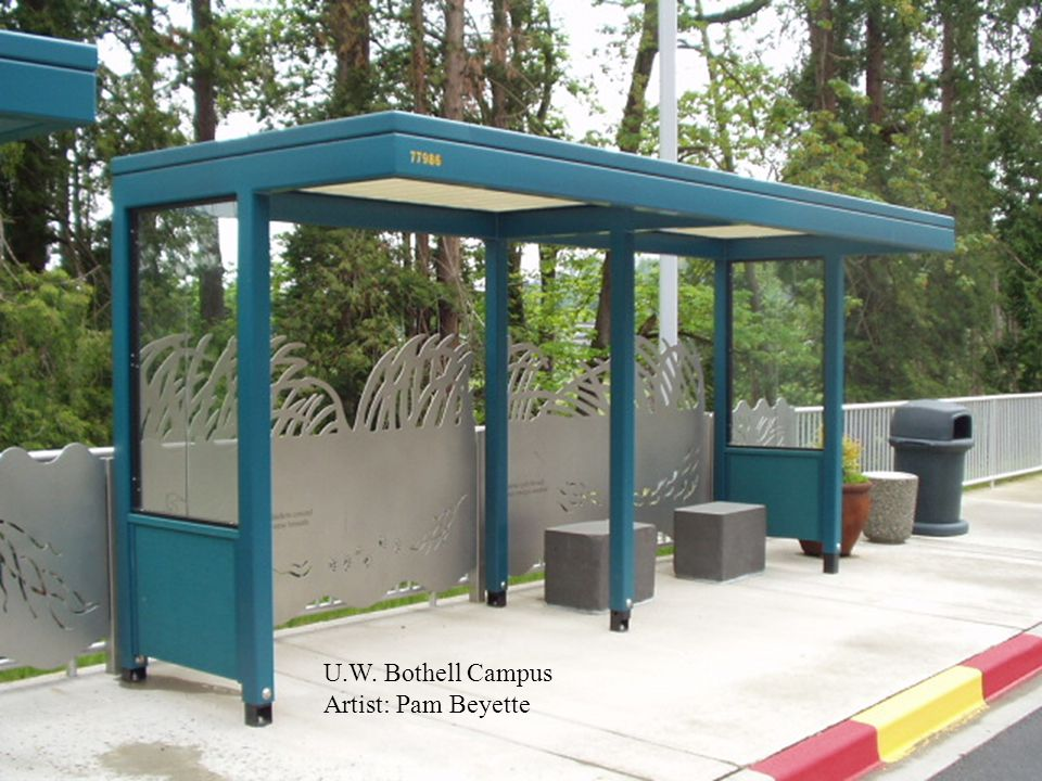 UW Bothell Campus 2 shelters w/Commissioned Artwork by Pam Beyette Laser-cut Steel Art Laser-cut Steel Art Granite Benches Granite Benches