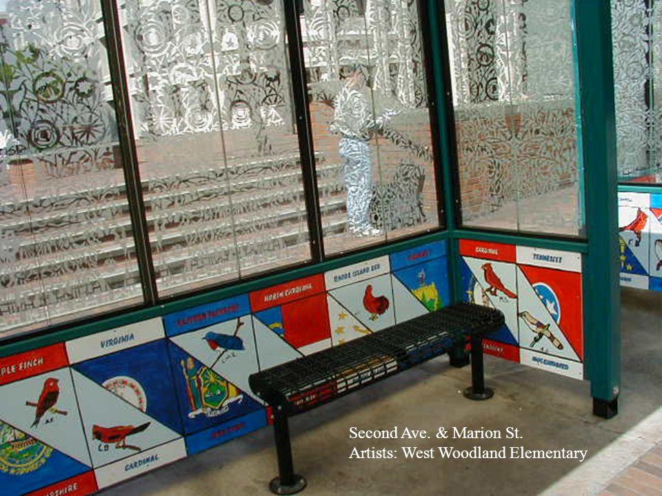 Aurora Village Transit Center Commissioned Artwork by Stuart Nakamura Artworks for 8 Shelters Artworks for 8 Shelters Custom Sand-blasted Windows Custom Sand-blasted Windows Railing & Building Artworks Railing & Building Artworks