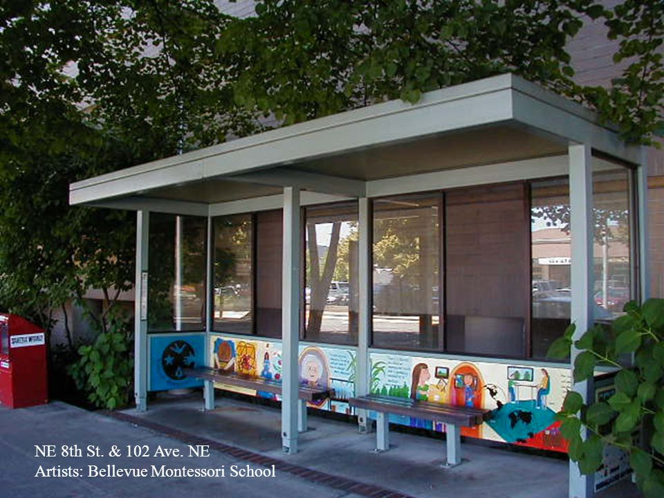Ballard Hub 6 shelters w/Commissioned Artworks by Steve Gardner Terra Cotta Tile panels Terra Cotta Tile panels NW Plant Patterned Windows NW Plant Patterned Windows Plasma-cut Steel Arches Plasma-cut Steel Arches