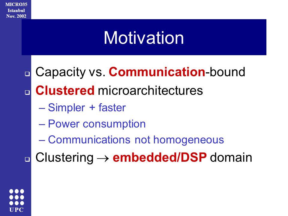 UPC MICRO35 Istanbul Nov. 2002 Motivation Capacity vs.