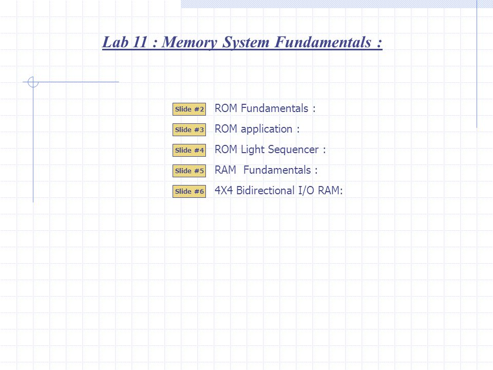 Lab 11 : Memory System Fundamentals : Slide #2 Slide #3 Slide #4 Slide #5 ROM Light Sequencer : RAM Fundamentals : ROM Fundamentals : ROM application