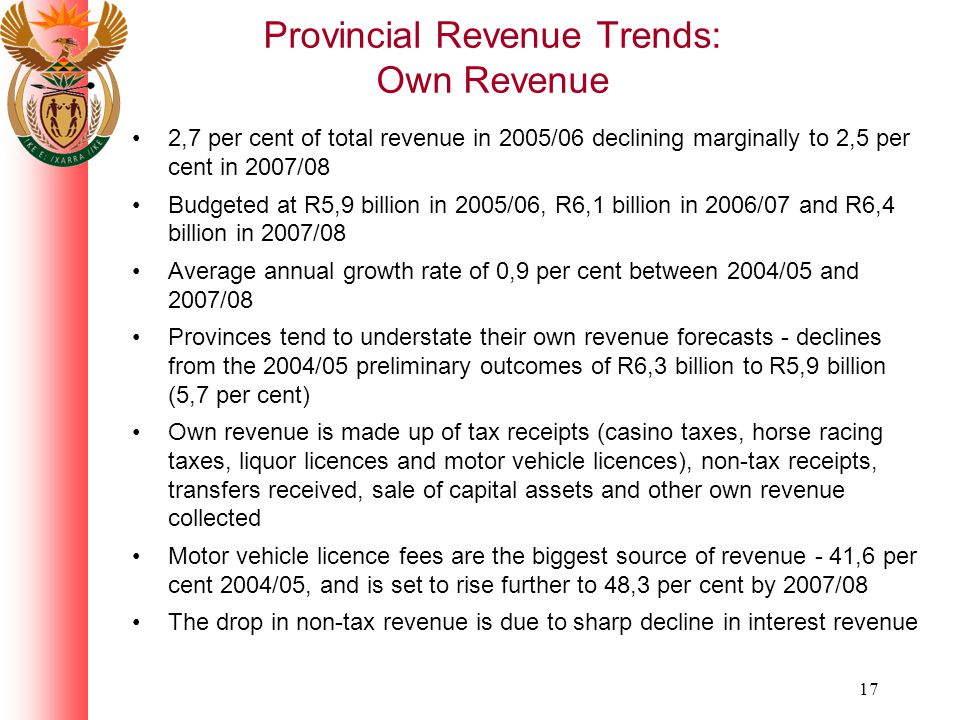 17 Provincial Revenue Trends: Own Revenue 2,7 per cent of total revenue in 2005/06 declining marginally to 2,5 per cent in 2007/08 Budgeted at R5,9 billion in 2005/06, R6,1 billion in 2006/07 and R6,4 billion in 2007/08 Average annual growth rate of 0,9 per cent between 2004/05 and 2007/08 Provinces tend to understate their own revenue forecasts - declines from the 2004/05 preliminary outcomes of R6,3 billion to R5,9 billion (5,7 per cent) Own revenue is made up of tax receipts (casino taxes, horse racing taxes, liquor licences and motor vehicle licences), non-tax receipts, transfers received, sale of capital assets and other own revenue collected Motor vehicle licence fees are the biggest source of revenue - 41,6 per cent 2004/05, and is set to rise further to 48,3 per cent by 2007/08 The drop in non-tax revenue is due to sharp decline in interest revenue