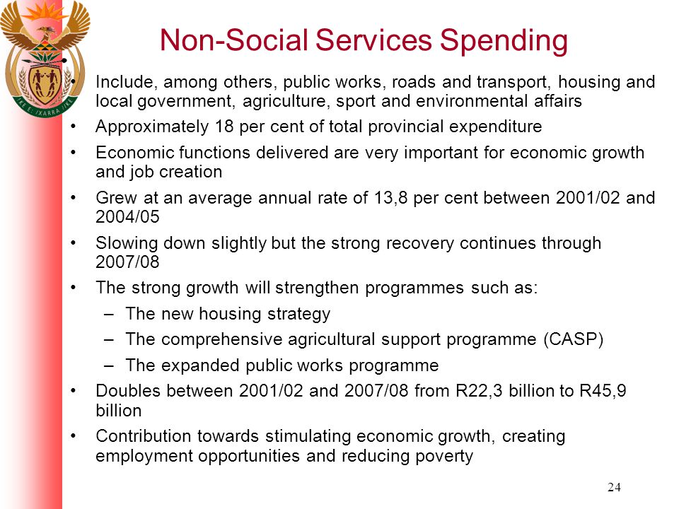 24 Non-Social Services Spending Include, among others, public works, roads and transport, housing and local government, agriculture, sport and environmental affairs Approximately 18 per cent of total provincial expenditure Economic functions delivered are very important for economic growth and job creation Grew at an average annual rate of 13,8 per cent between 2001/02 and 2004/05 Slowing down slightly but the strong recovery continues through 2007/08 The strong growth will strengthen programmes such as: –The new housing strategy –The comprehensive agricultural support programme (CASP) –The expanded public works programme Doubles between 2001/02 and 2007/08 from R22,3 billion to R45,9 billion Contribution towards stimulating economic growth, creating employment opportunities and reducing poverty