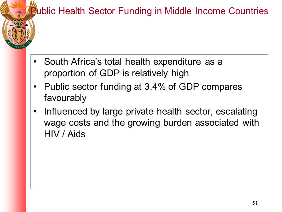 51 Public Health Sector Funding in Middle Income Countries South Africas total health expenditure as a proportion of GDP is relatively high Public sector funding at 3.4% of GDP compares favourably Influenced by large private health sector, escalating wage costs and the growing burden associated with HIV / Aids