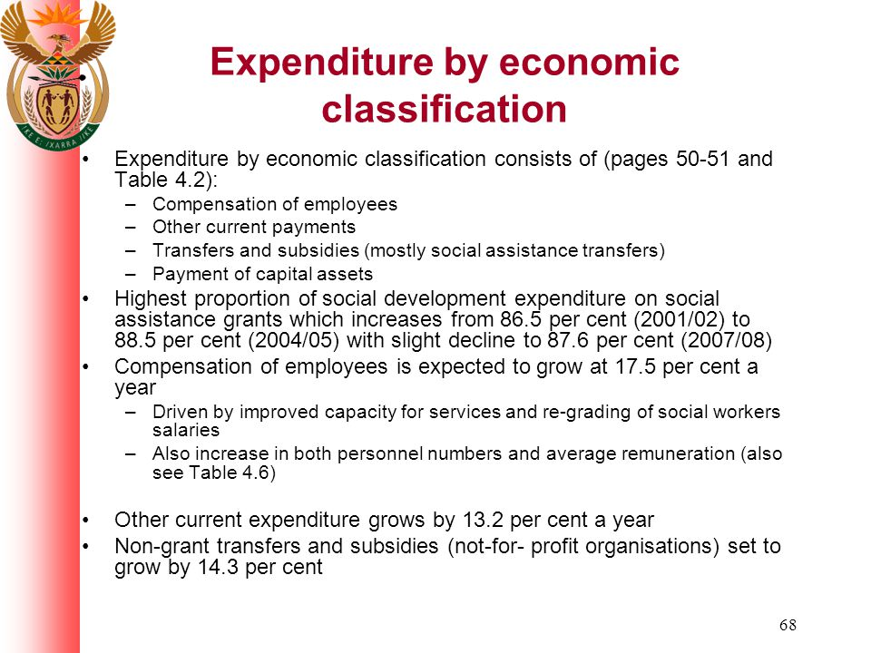 68 Expenditure by economic classification Expenditure by economic classification consists of (pages 50-51 and Table 4.2): –Compensation of employees –Other current payments –Transfers and subsidies (mostly social assistance transfers) –Payment of capital assets Highest proportion of social development expenditure on social assistance grants which increases from 86.5 per cent (2001/02) to 88.5 per cent (2004/05) with slight decline to 87.6 per cent (2007/08) Compensation of employees is expected to grow at 17.5 per cent a year –Driven by improved capacity for services and re-grading of social workers salaries –Also increase in both personnel numbers and average remuneration (also see Table 4.6) Other current expenditure grows by 13.2 per cent a year Non-grant transfers and subsidies (not-for- profit organisations) set to grow by 14.3 per cent