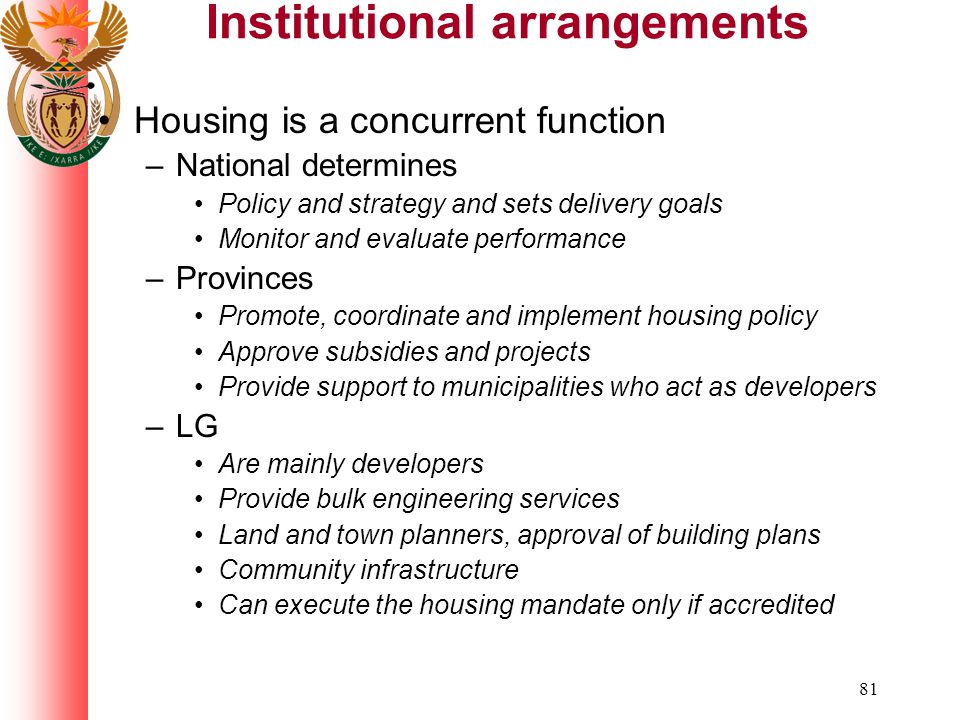 81 Institutional arrangements Housing is a concurrent function –National determines Policy and strategy and sets delivery goals Monitor and evaluate performance –Provinces Promote, coordinate and implement housing policy Approve subsidies and projects Provide support to municipalities who act as developers –LG Are mainly developers Provide bulk engineering services Land and town planners, approval of building plans Community infrastructure Can execute the housing mandate only if accredited