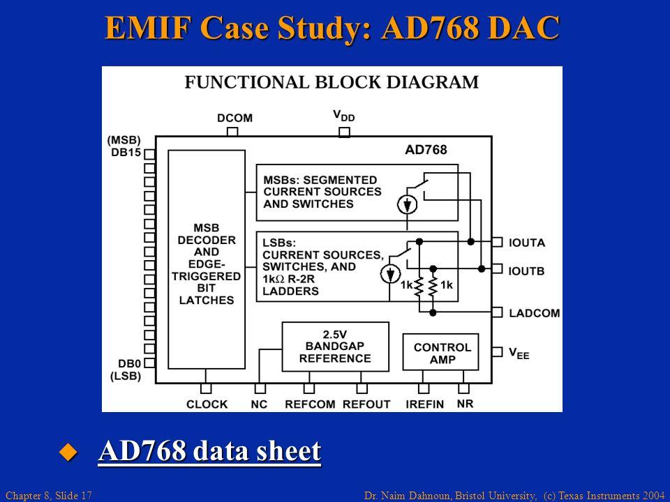 Dr. Naim Dahnoun, Bristol University, (c) Texas Instruments 2004 Chapter 8, Slide 17 EMIF Case Study: AD768 DAC AD768 data sheet AD768 data sheet AD76