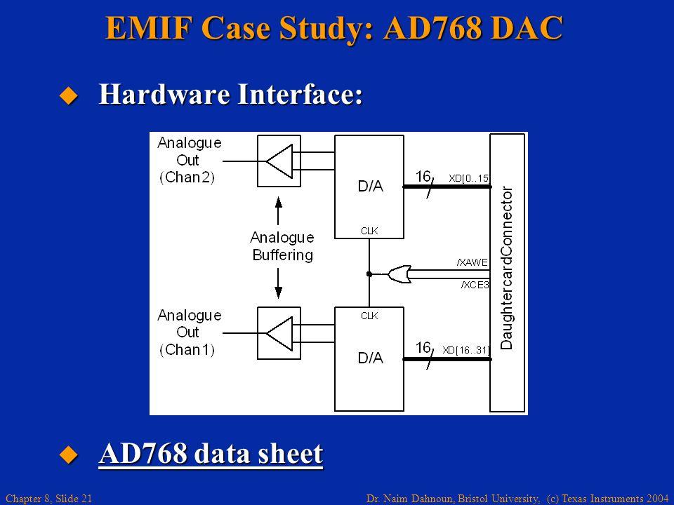 Dr. Naim Dahnoun, Bristol University, (c) Texas Instruments 2004 Chapter 8, Slide 21 EMIF Case Study: AD768 DAC Hardware Interface: Hardware Interface