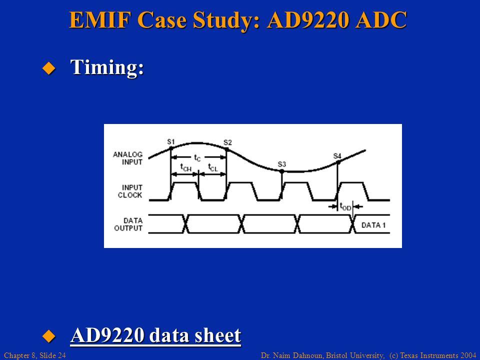 Dr. Naim Dahnoun, Bristol University, (c) Texas Instruments 2004 Chapter 8, Slide 24 EMIF Case Study: AD9220 ADC Timing: Timing: AD9220 data sheet AD9