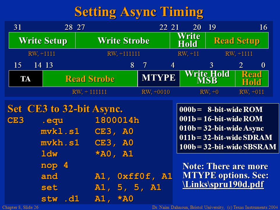 Dr. Naim Dahnoun, Bristol University, (c) Texas Instruments 2004 Chapter 8, Slide 26 Setting Async Timing 000b = 8-bit-wide ROM 001b = 16-bit-wide ROM