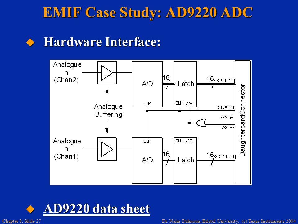 Dr. Naim Dahnoun, Bristol University, (c) Texas Instruments 2004 Chapter 8, Slide 27 EMIF Case Study: AD9220 ADC Hardware Interface: Hardware Interfac