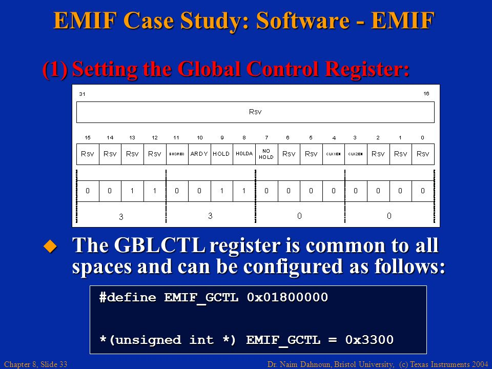 Dr. Naim Dahnoun, Bristol University, (c) Texas Instruments 2004 Chapter 8, Slide 33 EMIF Case Study: Software - EMIF (1)Setting the Global Control Re