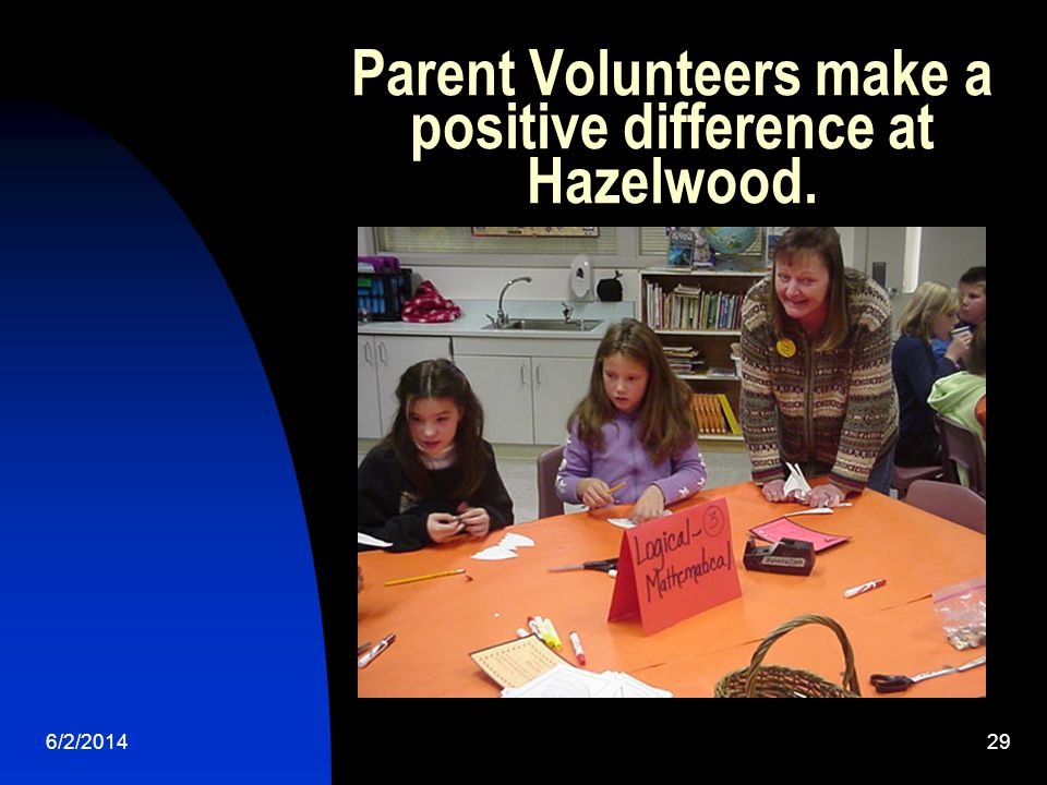 6/2/201429 Parent Volunteers make a positive difference at Hazelwood.