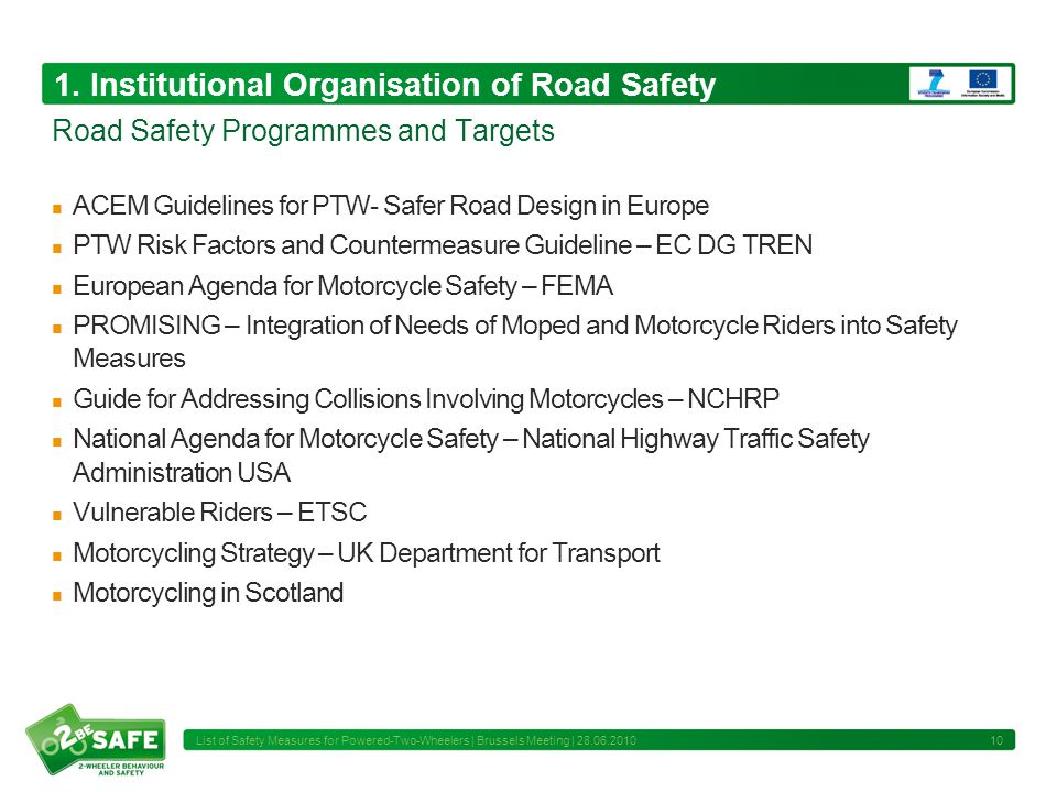 1. Institutional Organisation of Road Safety ACEM Guidelines for PTW- Safer Road Design in Europe PTW Risk Factors and Countermeasure Guideline – EC D