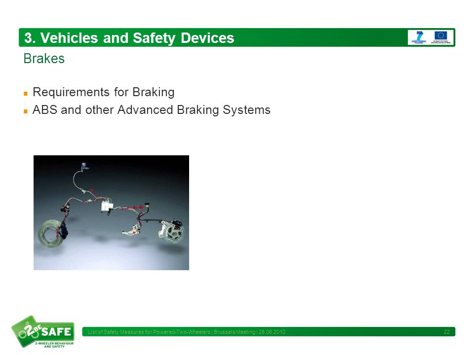 3. Vehicles and Safety Devices Requirements for Braking ABS and other Advanced Braking Systems 22 Brakes List of Safety Measures for Powered-Two-Wheel