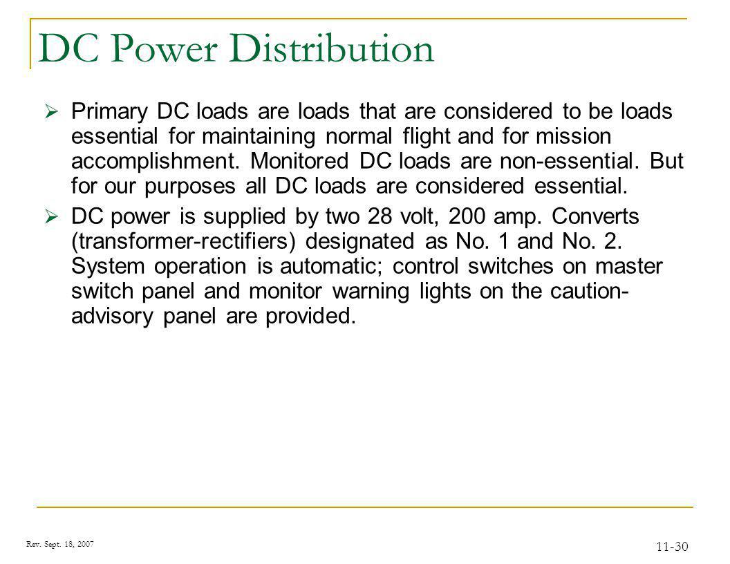 Rev. Sept. 18, 2007 11-30 DC Power Distribution Primary DC loads are loads that are considered to be loads essential for maintaining normal flight and
