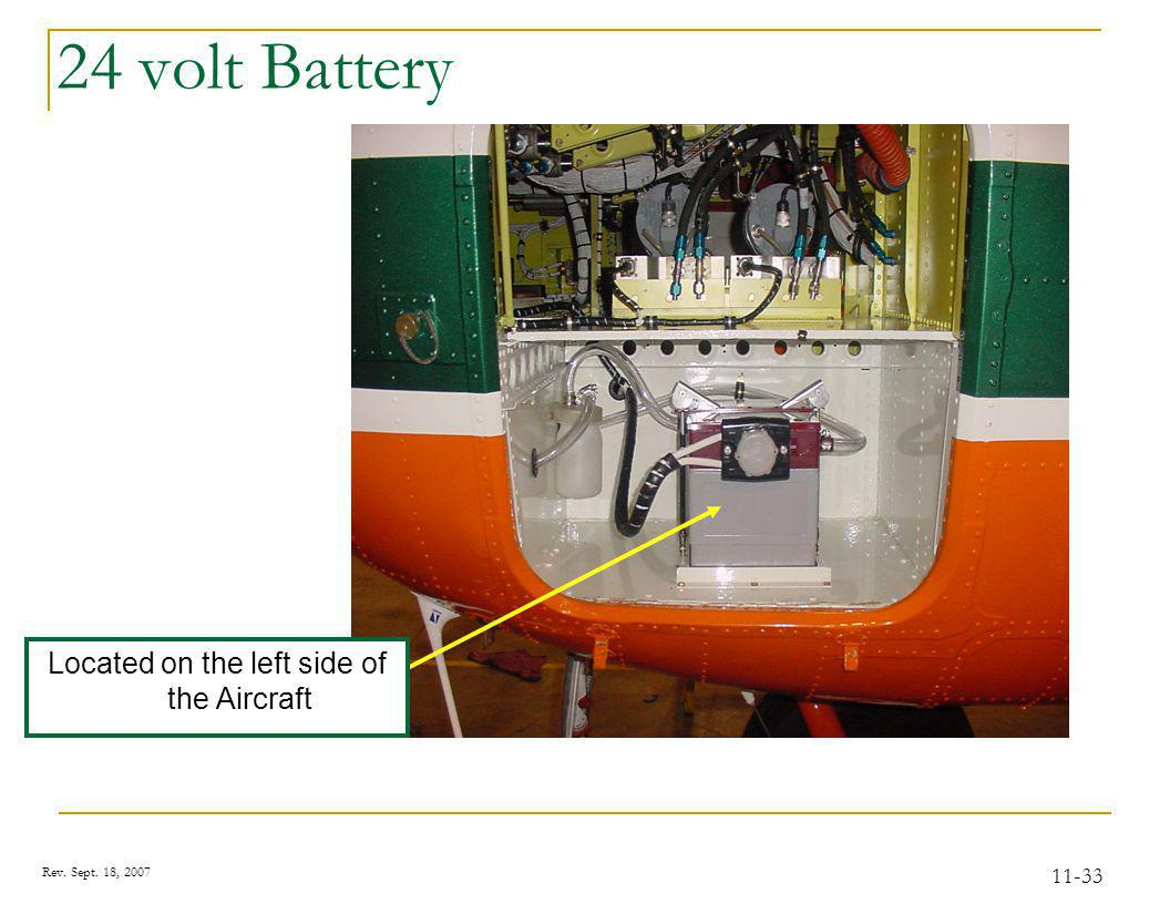 Rev. Sept. 18, 2007 11-33 24 volt Battery Located on the left side of the Aircraft