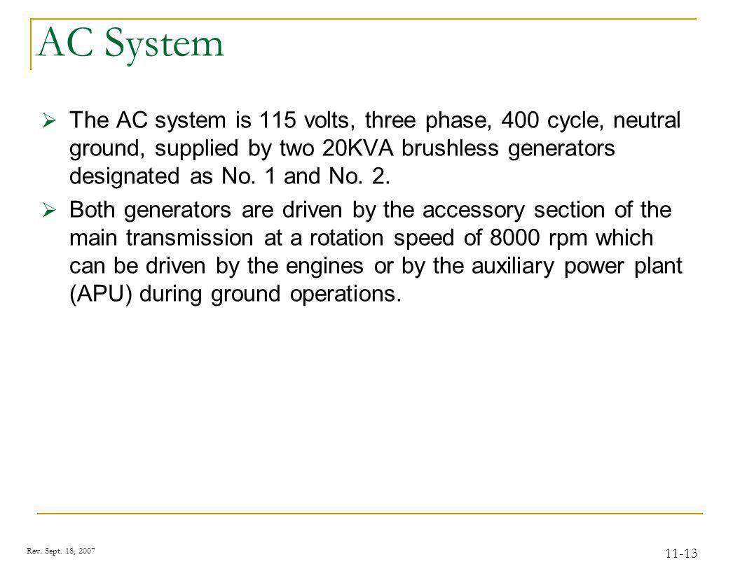 Rev. Sept. 18, 2007 11-13 AC System The AC system is 115 volts, three phase, 400 cycle, neutral ground, supplied by two 20KVA brushless generators des
