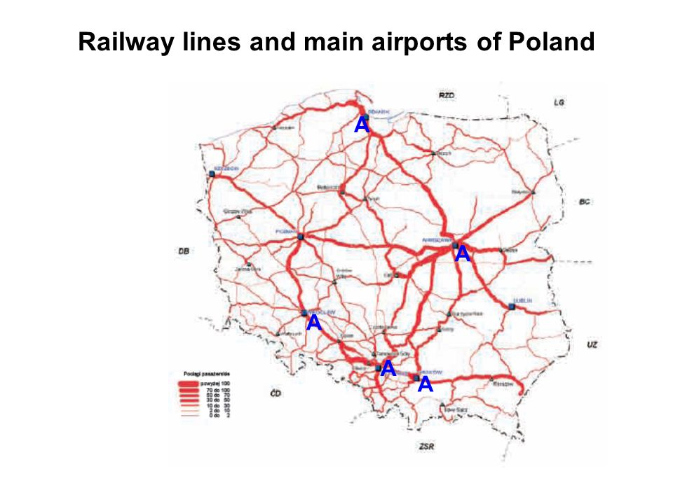 Railway lines and main airports of Poland A A A A A