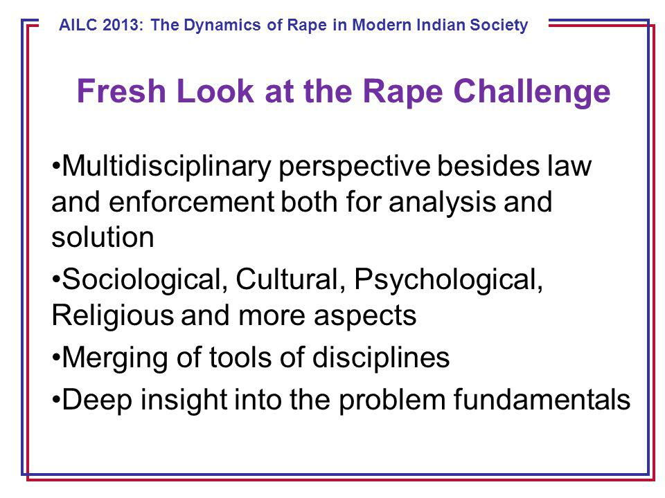 ECE 8443 – Pattern Recognition AILC 2013: The Dynamics of Rape in Modern Indian Society Fresh Look at the Rape Challenge Multidisciplinary perspective besides law and enforcement both for analysis and solution Sociological, Cultural, Psychological, Religious and more aspects Merging of tools of disciplines Deep insight into the problem fundamentals