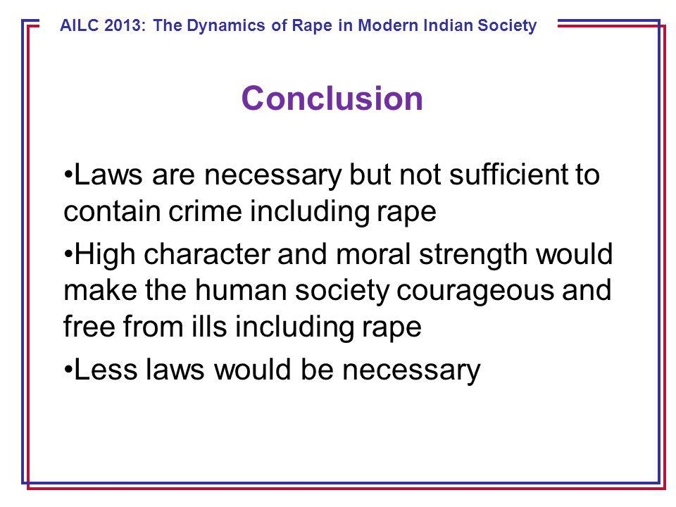 ECE 8443 – Pattern Recognition AILC 2013: The Dynamics of Rape in Modern Indian Society Conclusion Laws are necessary but not sufficient to contain crime including rape High character and moral strength would make the human society courageous and free from ills including rape Less laws would be necessary