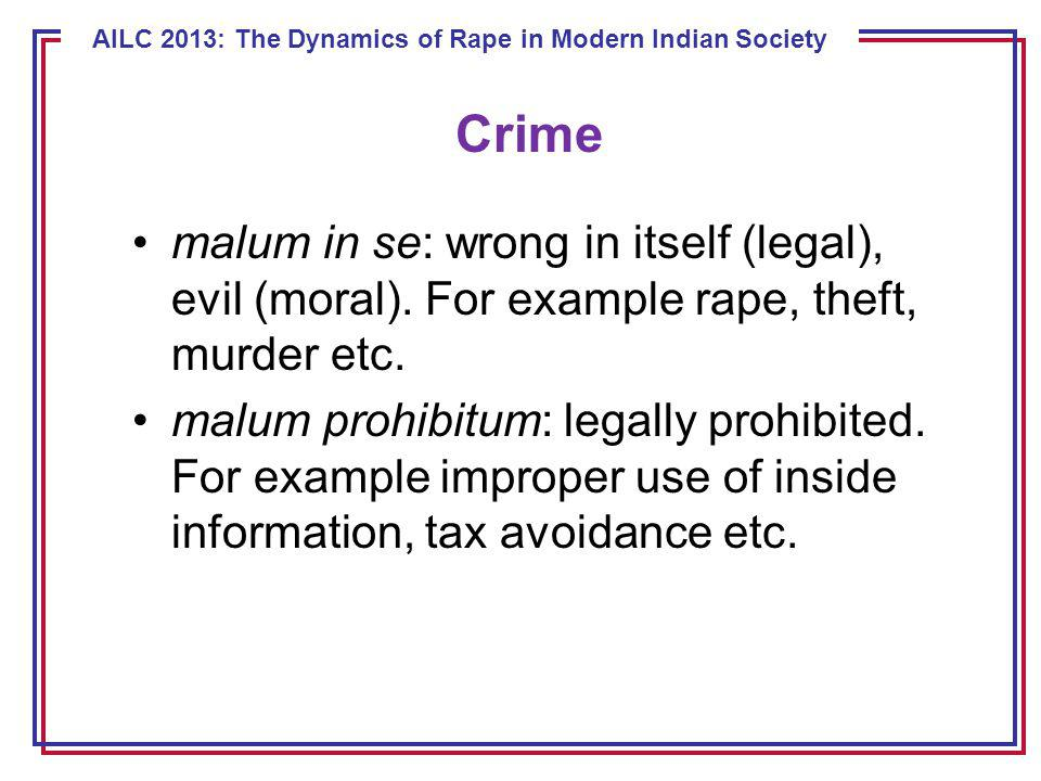 ECE 8443 – Pattern Recognition AILC 2013: The Dynamics of Rape in Modern Indian Society malum in se: wrong in itself (legal), evil (moral).