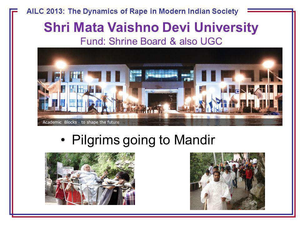 ECE 8443 – Pattern Recognition AILC 2013: The Dynamics of Rape in Modern Indian Society Pilgrims going to Mandir Shri Mata Vaishno Devi University Fund: Shrine Board & also UGC