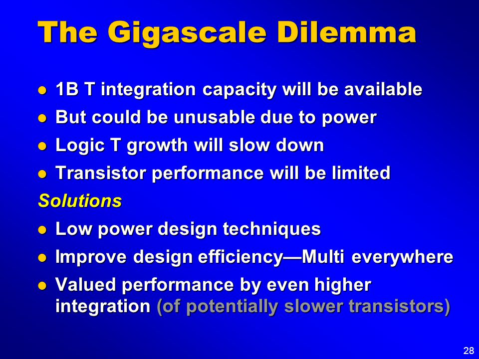 28 The Gigascale Dilemma 1B T integration capacity will be available 1B T integration capacity will be available But could be unusable due to power Bu