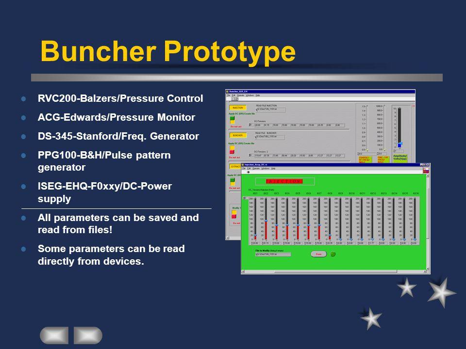 Buncher Prototype RVC200-Balzers/Pressure Control ACG-Edwards/Pressure Monitor DS-345-Stanford/Freq.