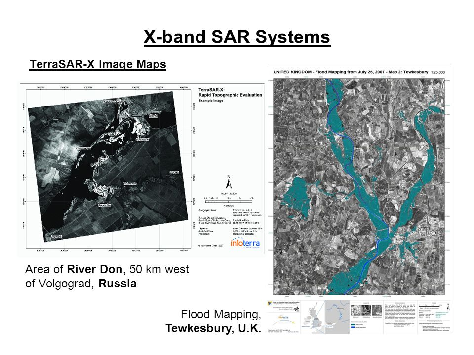 X-band SAR Systems TerraSAR-X Image Maps Flood Mapping, Tewkesbury, U.K. Area of River Don, 50 km west of Volgograd, Russia