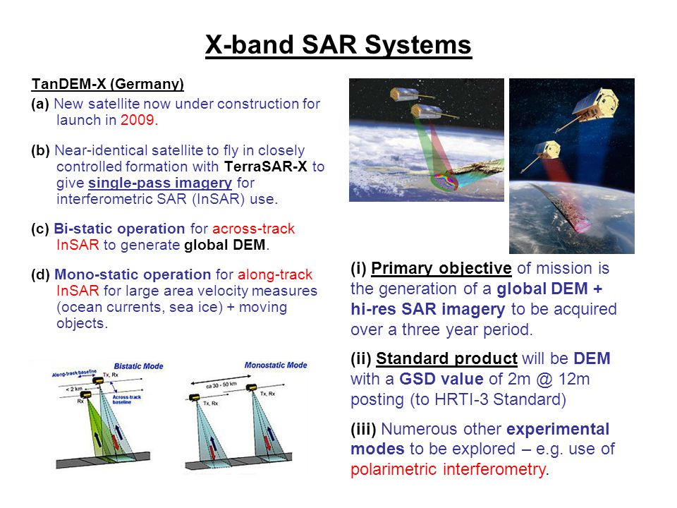 X-band SAR Systems TanDEM-X (Germany) (a) New satellite now under construction for launch in 2009. (b) Near-identical satellite to fly in closely cont