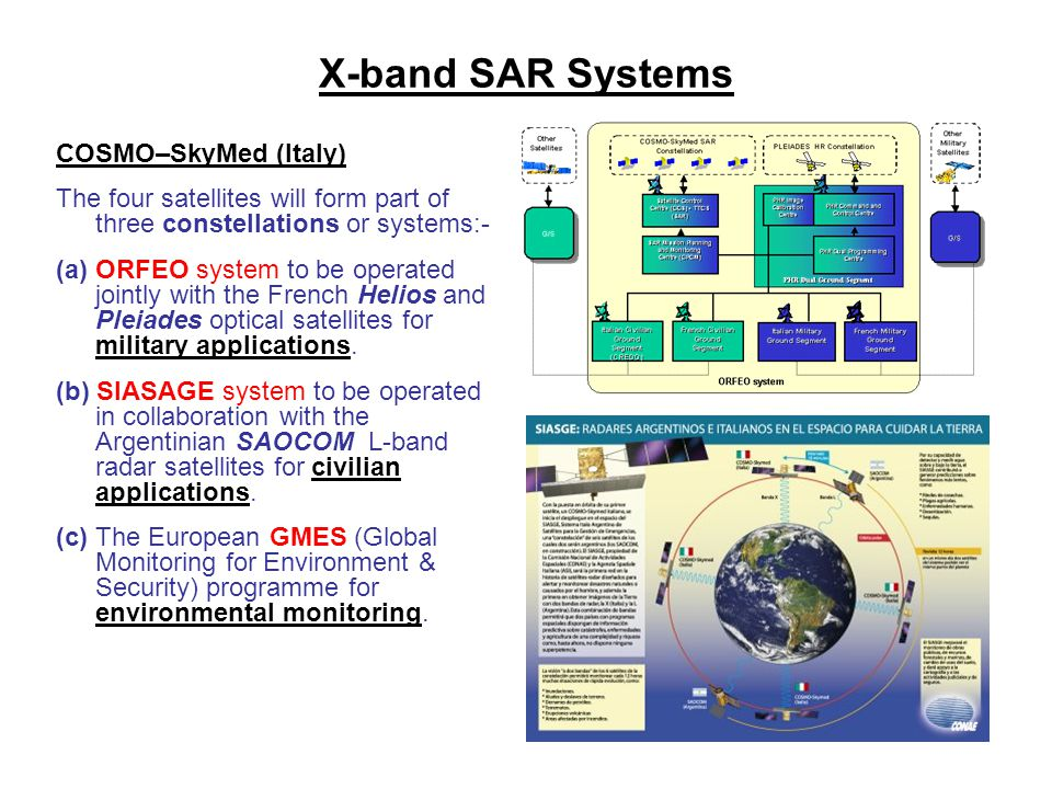 X-band SAR Systems COSMO–SkyMed (Italy) The four satellites will form part of three constellations or systems:- (a) ORFEO system to be operated jointl