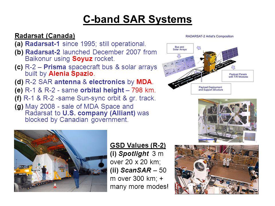 C-band SAR Systems Radarsat (Canada) (a) Radarsat-1 since 1995; still operational.